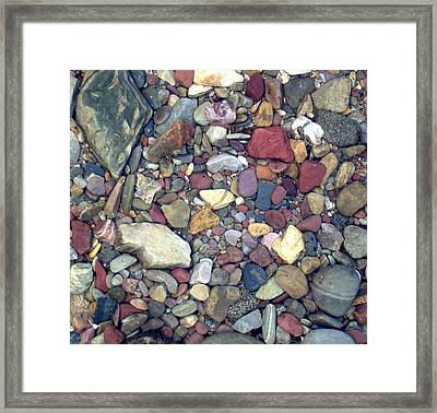 Colorful Lake Rocks Framed Print by Kerri Mortenson