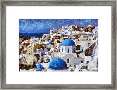 Colorful Oia In Santorini Island Framed Print