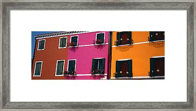 Colorful Row Houses, Burano, Venice Framed Print by Panoramic Images