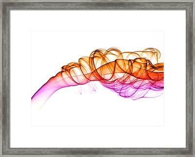Colorful Smoke Abstract On White Framed Print