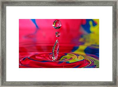 Colorful Water Drop Framed Print by Peter Lakomy