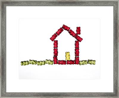 Coloured Jellybabies Formed As A House Framed Print by Juergen Ritterbach