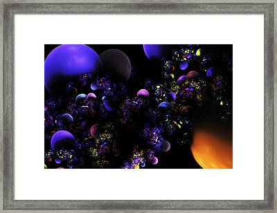 Computer Generated Spheres Abstract Fractal Flame Framed Print by Keith Webber Jr