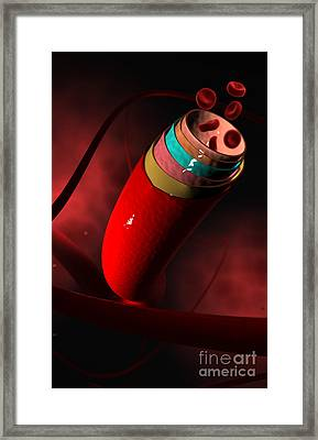 Conceptual Image Of A Blood Vessel Framed Print by Stocktrek Images