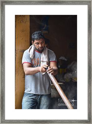 Framed Print featuring the photograph Cooking Breakfast Early Morning Lahore Pakistan by Imran Ahmed