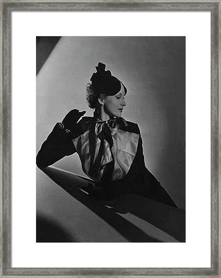 Cora Hemmet Wearing Reboux And Boucheron Framed Print by Horst P. Horst