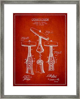 Corkscrew Patent Drawing From 1883 Framed Print by Aged Pixel