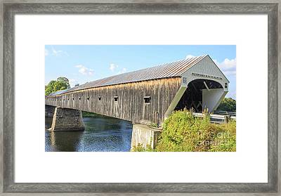 Cornish-windsor Covered Bridge  Framed Print by Edward Fielding