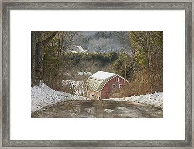 Country Road And Barn In Winter Maine Framed Print by Keith Webber Jr