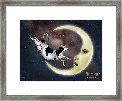 Cow Jumped Over The Moon Framed Print by Paul Fleet