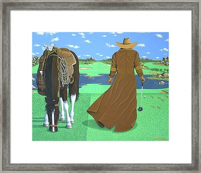 Cowboy Caddy Framed Print