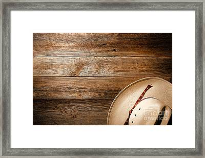 Cowboy Hat On Wood Framed Print