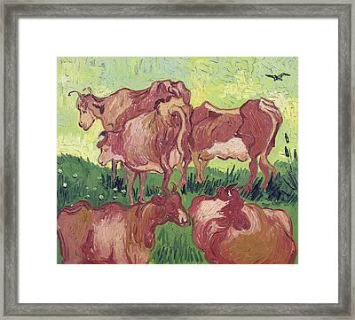 Cows Framed Print by Vincent Van Gogh