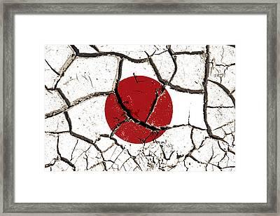 Cracked Japan Flag Framed Print by Roman Milert