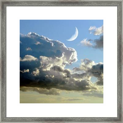 Crescent Moon In Cloudy Sky Framed Print