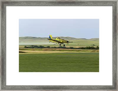 Crop Duster Airplane Spraying Flax Framed Print