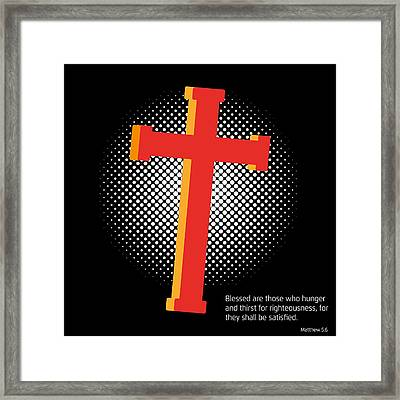Crucifix And Gospel Framed Print by Alain De Maximy