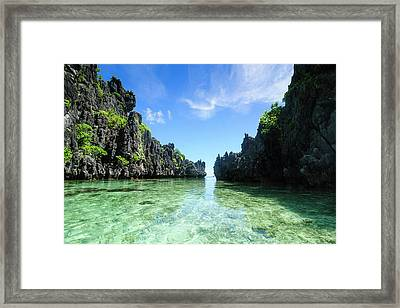 Crystal Clear Water In The Bacuit Framed Print by Michael Runkel