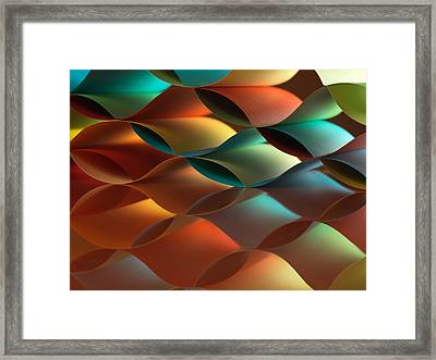 Curved Colorful Sheets Paper With Mirror Reflexions Framed Print by Dan Comaniciu