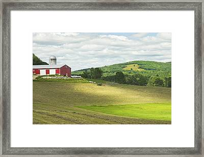 Cutting Hay In Summer On Maine Farm Framed Print by Keith Webber Jr