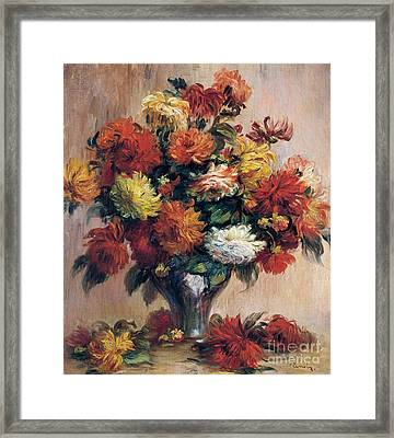 Dahlias Framed Print by Pierre-Auguste Renoir