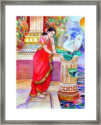 Damayanthi And The Swan Framed Print by Banu's Art work
