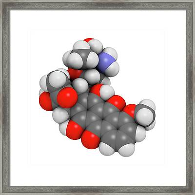 Daunorubicin Cancer Drug Molecule Framed Print