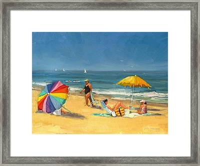 Day At The Beach Framed Print by Laura Lee Zanghetti