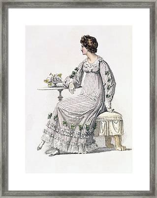 Day Dress, Fashion Plate Framed Print by English School