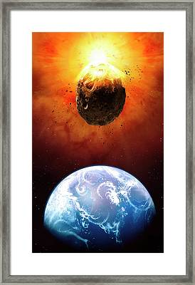 Deflecting A Near-earth Asteroid Framed Print by Mark Garlick