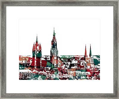 Delft Netherlands Blueprint Framed Print