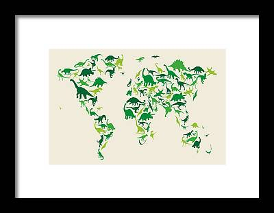 Dinosaur Map Framed Prints