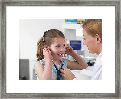 Doctor Bonding With Patient Framed Print by Tek Image