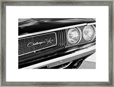 Dodge Challenger Rt Grille Emblem Framed Print by Jill Reger