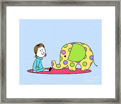 Doll With Elephant Framed Print by Donna Mibus