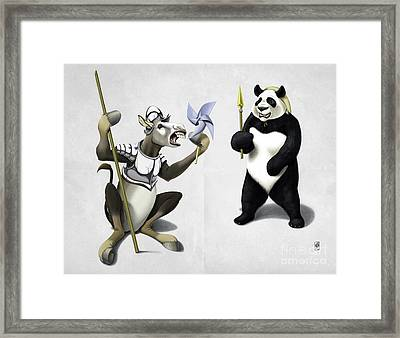 Donkey Xote And Sancho Panda Wordless Framed Print by Rob Snow