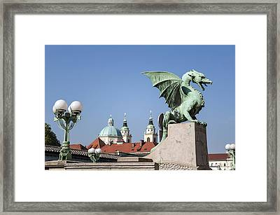 Dragon Bridge. Ljubljana. Framed Print