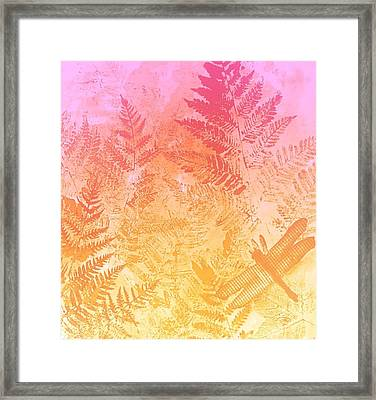 Dragonfly And Ferns Framed Print by Kathleen Luther
