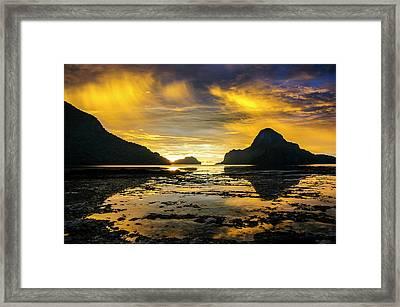 Dramatic Sunset Light Over The Bay Framed Print by Michael Runkel