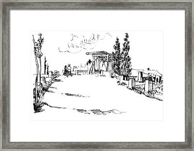 Drawbridge At Arles Drawing Framed Print by Vincent Van Gogh
