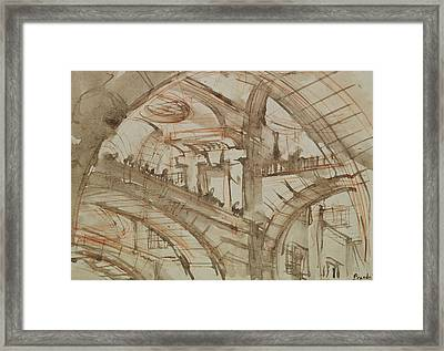 Drawing Of An Imaginary Prison Framed Print by Giovanni Battista Piranesi