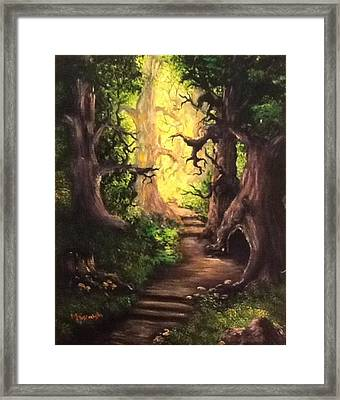 Framed Print featuring the painting Druid Forest by Megan Walsh