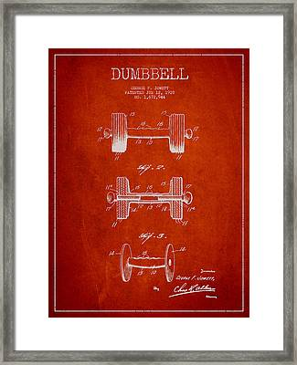 Dumbbell Patent Drawing From 1927 Framed Print by Aged Pixel