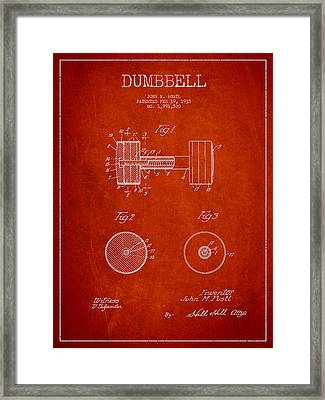Dumbbell Patent Drawing From 1935 Framed Print by Aged Pixel