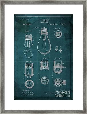 Edison Lamp Base Patent Blueprint Framed Print by Pablo Franchi