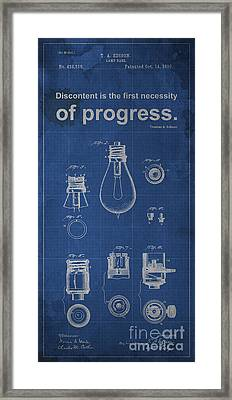 Edison Quote Lamp Patent Blueprint Framed Print by Pablo Franchi