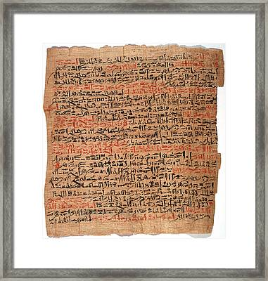 Edwin Smith Papyrus Framed Print by National Library Of Medicine