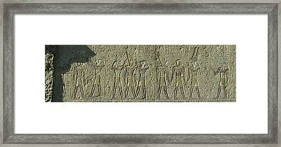 Egyptian Hieroglyphs On The Wall Framed Print by Panoramic Images