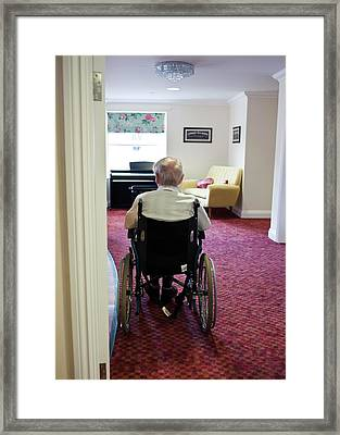 Elderly Man In A Wheelchair Framed Print by John Cole
