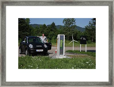 Electric Car And Charger Framed Print